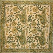 Rajasthan Paisley Block Print Cotton Table Napkin 46cm x 46cm Green
