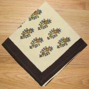 Kalamkari Block Print Cotton Table Napkin 41cm x 41cm Beige