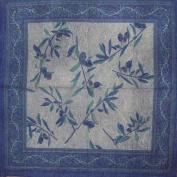 Border Vine Stonewash Cotton Table Napkin 46cm x 46cm Blue