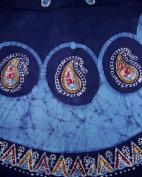 Batik Round Round Cotton Tablecloth 180cm Blue