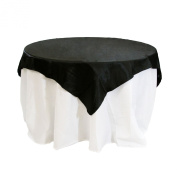 Koyal Wholesale Square Satin Overlay Table Cover, 180cm by 180cm , Black
