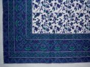 Fleur De Lis Square Cotton Tablecloth 150cm x 150cm Blue