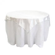 Koyal Wholesale Square Satin Overlay Table Cover, 180cm by 180cm , White