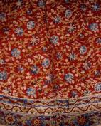 Veggie Dye Block Print Round Cotton Tablecloth 180cm Red