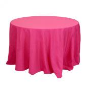 Koyal Wholesale Round Polyester Tablecloth, 270cm , Fuchsia
