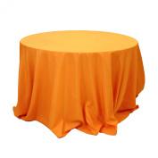 Koyal Wholesale Round Polyester Tablecloth, 270cm , Orange