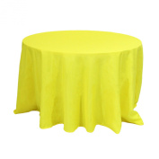 Koyal Wholesale Round Polyester Tablecloth, 270cm , Yellow