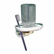 Vintage Ivy Porcelain Toothbrush/Cup Holder Brass Bracket | Renovator's Supply