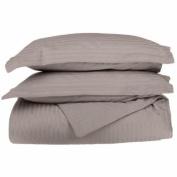 Egyptian Cotton 650 Thread Count King/California King 3-Piece Duvet Cover Set, Single Ply, Stripe, Grey