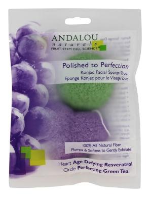 Andalou Naturals Perfection Konjac Facial Duo Sponge, 2 Count