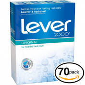 (PACK OF 70 BARS) Lever 2000 ORIGINAL SCENT Bar Soap for Men & Women. NON-DRYING! Great for Healthy Feeling Hands, Face & Body!
