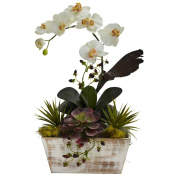 Nearly Natural Floral Décor Orchid and Succulent Garden with White Wash Planter Multi 1326