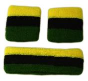 RASTA SWEATBANDS SET Terry Cloth Gym (1 Headband, 2 Wristbands) Reggae Jamaica Red Green Black