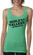 Women's World's Tallest Leprechaun Tank Top Funny Sleeveless Tee for St Pattys S