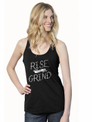 Womens Rise and Grind Funny Workout Fitness Terry Tank Top -S