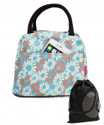 JAVOedge Pink / Light Blue Fabric Daisy Pattern Lunch Bag Tote with Zipper and Handle + Bonus Drawstring Bag