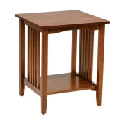 Traditional Side Table with Medium Oak Finish for Living Room, Bedroom, Porch, Covered Patio, Den, Home Office, Guest Room, Foyer, Etc.. Mission Style Accent Furniture Serves As Magazine Holder, Nightstand, Sofa End Table, Cabin Furniture and More!