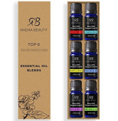 Aromatherapy Essential Oil Blends - Best 6 100% Pure Therapeutic Grade Four Thieves, Stress Free, Rest & Relax, Breathe Easy, Pure Healing, Happy Citrus, Gift Set - 6/10 ml