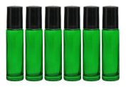 Roll-on Glass Bottles,6 PC 10ml (1/3oz) and 1ml Dropper Included, Empty Aromatherapy Essential Oils, Perfume Bottles, Refillable Bottles Slim with Metal Ball and Black Plastic Lid