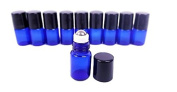 Got Oils® Pack OF 10 BLUE 5/8 DRAM GLASS SAMPLE ROLLER VIALS WITH STAINLESS STEEL ROLLER TOPS AND BLACK CAP
