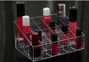 24 Slot Transparent Makeup Beauty Cosmetic Train Case Display Stand Rack Holder Tabletop Riser for Lipstick Liner Brush Nail Polisher Acrylic Organiser Showcase AOSTEK