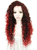 Ebingoo Fashion Black Women's Lace Front Wig Long Red Curly Wavy Heat Resistant Synthetic Full Hair Party Wigs N18 33+3100 JLS377