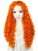 Ebingoo Halloween Women's Lace Front Wig Fashion Orange Synthetic Full Hair Curly Wavy Heat Resistant Party Wigs N18 3200 JLS374