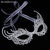Luxury Beads Crystal White K Gold Plated Eye Accessories Wedding Party Ball Dress Halloween Mask