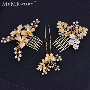 3pcs/set 14K Gold Butterfly with Leaves Bridal Combs Cystal Flower Wedding Hair Accessories Tiara