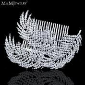Feather Shape Crystal Bridal Hair Combs Hairpin Imitation Gemstone Bridal Tiara Wedding Hair Accessories Hair Jewellery