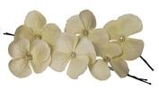 Olinibridal Handmade Set of 6 Flower Hair Pins with Rhinestones, Bridesmaids Hair Pins, Handcrafted Pins