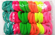 100pcs High Elastic Hair rope Ponytail Holders Scrunchie Fluorescent Mixed Colours hair styling basic models