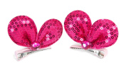Sequined Heart Hair Clips