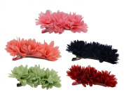 Fashion Pure Colour Chiffon Flowers Hair Alligator Clip,Hair Claw Clip Accessory Ponytail Holder for Lady Women Girls