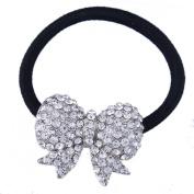 FUMUD 1PCS Women Crystal Rhinestone Bow Hair Band Rope Elastic Ponytail Holder Gift