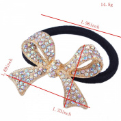 FUMUD New 2016 Women Butterfly Crystal Ponytail Holder Rhinestone Elastic Hair Rope Hairband