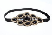 Womens Fashion Headband, Beautiful Black Stone Gatsby Flapper 1920's Rhinestone and Beaded Headband, Adjustable Band to Fit Any Head, 18 Look Style Guide Included