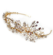USABride Floral Leaf Crystal Simulated Pearl Rhinestone Headband Botanical Bridal Wedding Gold-Tone Leaves Headpiece TI-3268-G