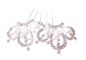 Drasawee Rhinestone Wedding Bride Hair Accessories Handmade Pearl Bridesmade Hair Comb Clips Figure3#