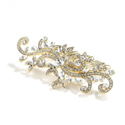 Mariell 14K Gold Plated Bridal, Prom or Wedding Crystal Comb with Vintage Scroll Design