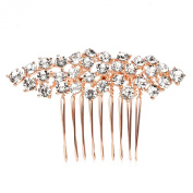 Mariell Crystal Cluster Bridal, Wedding or Prom Hair Comb with Rose Gold Plating