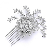 Mariell Silver Rhodium Bridal, Prom or Wedding Crystal Comb with Vintage Floral Design