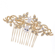 Leaf Hair Combs Hair Pins Bridal Wedding Hair Accessories Jewellery Gold-Tone CZ Crystal Combs 4012