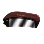 AUDYLIYA No Static 100% Handmade Premium Quality Fish Shaped Natural Violet Wood with Black Buffalo Horn Combs Pocket