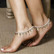 Leiothrix Vogue Bohemian Simple Multilayer White Beads Alloy Anklet for Women and Girls Apply to Party Beach Casual Photograph