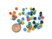 50 Six Sided D6 5mm .197 Inch Die Small Tiny Mini Miniature multicoloured Dice