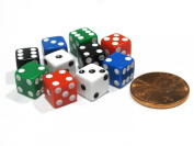 Set of 10 8mm Six-Sided D6 Small Square-Edge Dice - Assortment of Five Colours