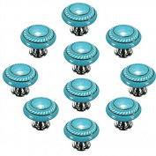 CSKB Blue 10PCS Retro Simple Style Round Ceramic Door Knob Handle Pull Knobs Door Cupboard Locker for Drawer,Cabinet,Chest, Bin, Dresser, Bathroom ,Cupboard, Etc with Screws