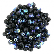 Jet Black AB Faceted Round Glass Beads -2mm