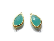 Foxy Findings Gemstone Collection Gold Plated Bezel Set Faceted Aqua Blue Connector Set of 1 24mm GS012-g